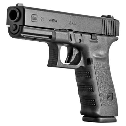 Glock 21 Standard SF Pistol w/Glock Rail, 45 ACP, 4.60 in, Polymer Grip, Black Finish, Fixed Sights, 10 Rd?>