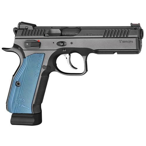 CZ Shadow 2 Black/Blue Semi Auto DA/SA Pistol - 9mm Luger, 120mm Barrel, Adjustable Sights, 3x10rds, Black w/ Blue Grips?>
