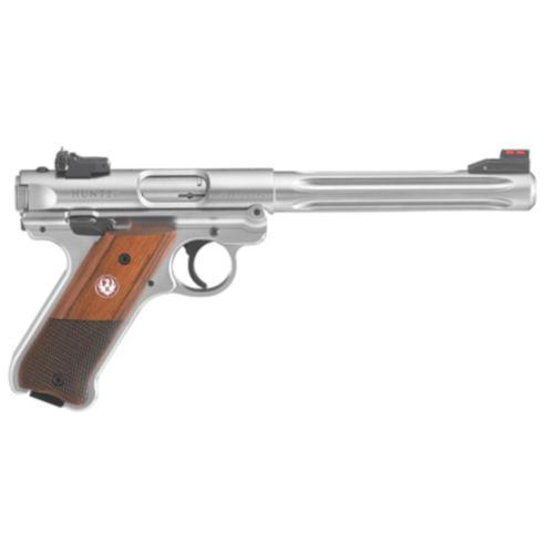 "Ruger Mark IV Hunter Semi-Auto Pistol .22LR 6.8"" Barrel Wood Grip Stainless Finish 40118?>"