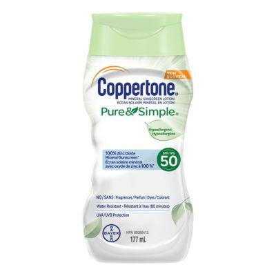 Coppertone® Mineral Sunscreen Lotion Pure & Simple SPF 50?>
