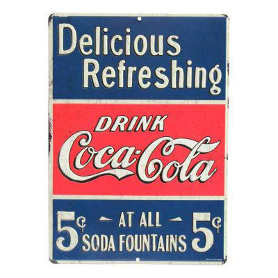 Open Roads Drink Coca-Cola Die Cut Embossed Metal Sign?>
