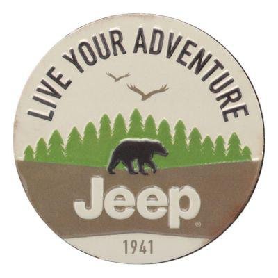 Open Roads Jeep Live Your Adventure Die Cut Embossed Metal Magnet?>
