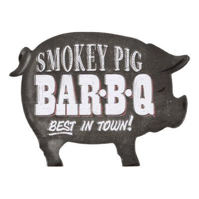 Open Roads Smoked Pig BBQ Die Cut Embossed Metal Magnet?>