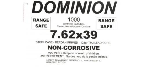Dominion 7.62x39mm 123gr TMJ - Range Safe - 1000rds in Ammo Can?>