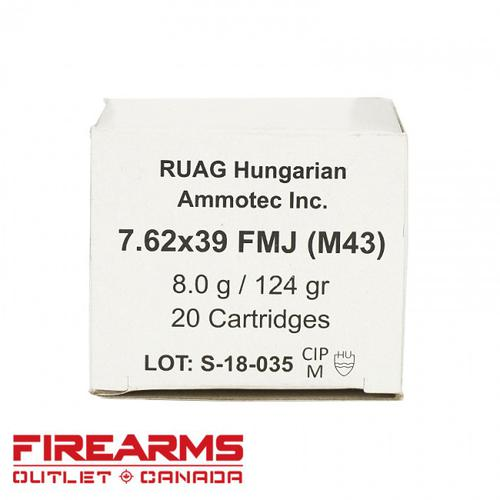 Ruag Brass Cased, Non-Corrosive M43 7.62x39mm, 124gr, FMJ, Box of 20?>