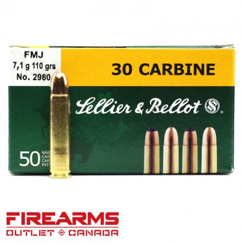 Sellier & Bellot - .30 Carbine, 110gr, FMJ, Box of 50 [332650]?>