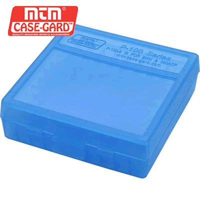 MTM 100 Round Flip-Top Ammo Box 380/9MM Cal- Blue?>