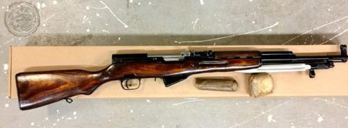 Russian SKS Semi-Auto Rifle w/ Laminate Stock?>