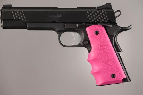 HOGUE 1911 Govt. Rubber Grip with Finger Grooves Pink?>