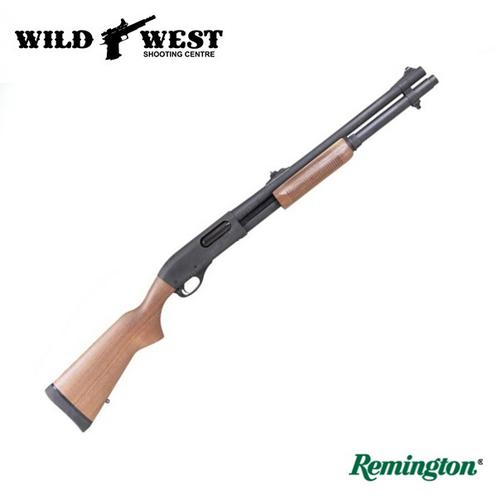 Remington LE 870 Police #24888 12Ga, 20″ w/ Wood Stock, Rifle Sights – Parkerized?>