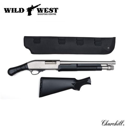 Churchill Shockwave Pump Action 12ga. w/ FREE Scabbard – Stainless?>