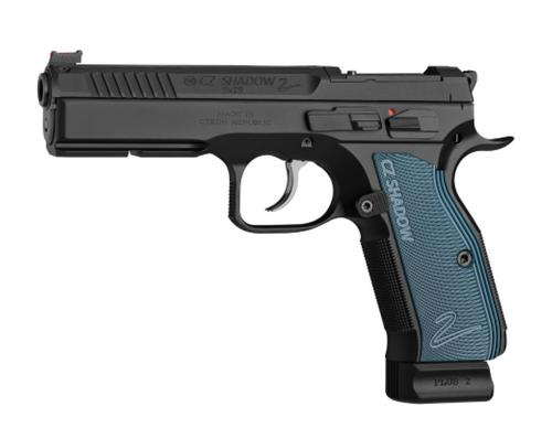CZ Shadow 2 Optics Ready Semi-Auto Pistol, 9mm, 10 Round, Black w/ Blue Grips?>