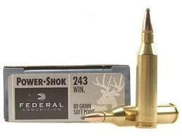 FEDERAL POWER-SHOK 243 WINCHESTER 80 GR. SP BOX OF 20?>