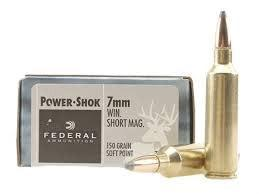 FEDERAL POWER-SHOK 7MM WIN SHORT MAGNUM 150 GRAIN SOFT POINT BOX OF 20?>