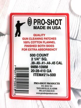 Pro-Shot          	.38-.45Cal./.20-.410 2-1/4 Square Patches Qty 500?>
