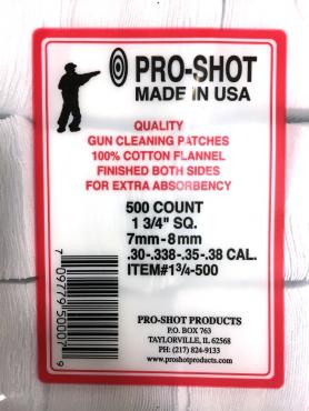 "Pro-Shot          	7mm-8MM .30-38Cal 1-3/4"" Square Patches Qty 500?>"