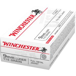 Winchester USA 9mm Luger 115gr FMJ - 50RD Box?>
