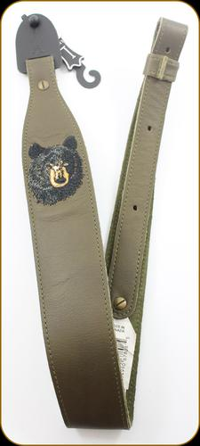 "Levy's Leather - Leather Sling - 2 1/4"" Green Garment Leather Bear Embroidery - 37"" - SNG20EB-GRN?>"