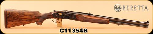 "Used - Beretta - 458WinMag - SS06 EELL - Express Double Rifle - Walnut/Color case-hardened receiver w/ 24-carat gold inlaid animals/Blued, 24"", c/w fitted leather case, custom-built tools, snap caps, spare rounds, mahogany cleaning rod, Dies - App?>"