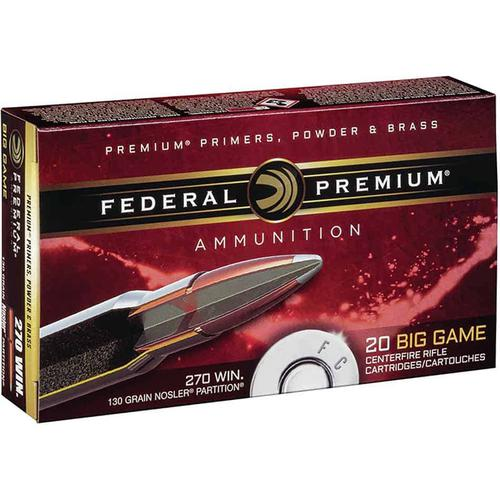 Federal Premium, Big Game, 270 Win, 130gr Nosler Partition, Ammunition?>