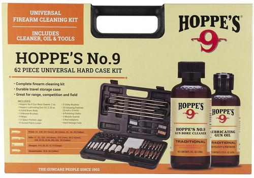Hoppe's No. 9, 62 Piece Universal Cleaning Kit - All Calibers, 14 Bronze Brushes, 6 Solid Brass Rods, 13 Spear Jags, Muzzle Guard, Patch Loops, No.9 Gun Bore Cleaner 2oz & Gun Oil 2.25oz, 3 Utility Brushes, Hard Case?>