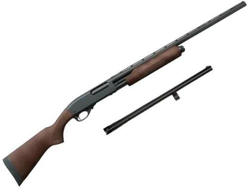 "Remington Model 870 Express Pump Action Shotgun Combo - 12Ga, 3"", 28"", Vented Rib, Rem Choke (IC/M/F)/18.5"", Home Defense Barrel, Wood Stock, 5rds, Matte Black?>"