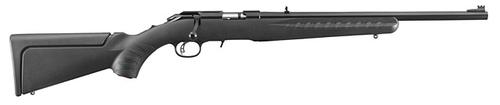 "Ruger American Rimfire Compact Bolt Action Rifle - 22 LR, 18"", Satin Blued, Alloy Steel, Black Synthetic Stock, 10rds, Fiber Optic Front & Adjustable Rear Sights?>"