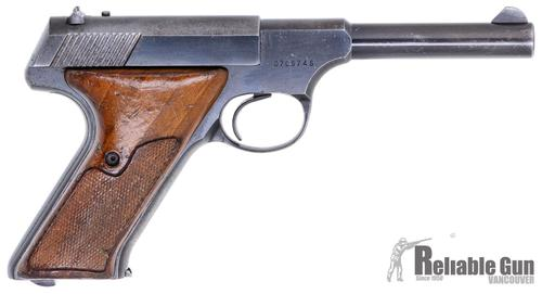 "Colt Huntsman Surplus Semi-Auto Rimfire Pistol -  22 LR, 4.5"", Blued, Fixed Sights, Wood Grips, One Mag, Bluing Wear & Minor Pitting on Slide & Muzzle, Fair Condition?>"