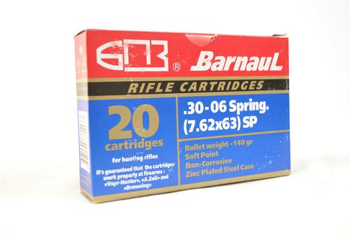 BarnauL Rifle Ammo - 30-06 Sprg (7.62x63mm), 140Gr, Soft Point, Zinc Plated Steel Case, Non-Corrosive, 20rds Box?>