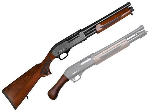 "Canuck Regulator/Defender Combo Pump Action Shotgun - 12ga, 3"", 14"", Wood Stock & Bird Head Style Grip, 4rds, Mobil Choke Flush (F,M,IC)?>"