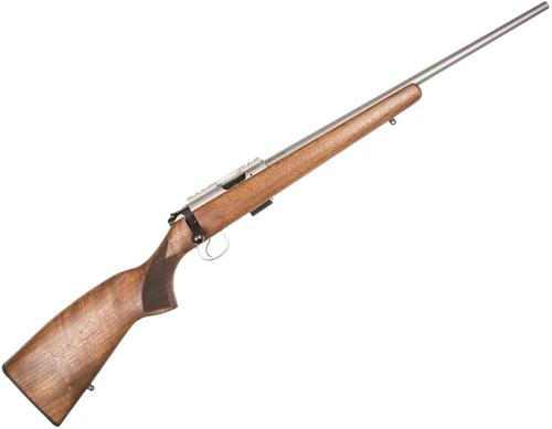 "CZ 455 LUX SS Rimfire Bolt Action Rifle - 22 LR, 20-1/2"", Hammer Forged, Stainless Steel, Walnut Stock, 10rds, Picatinny Rail, Adjustable Trigger?>"