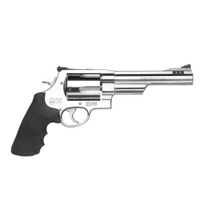 "Smith & Wesson (S&W) Model 500 DA/SA Revolver - 500 S&W Mag, 6.5"", Satin Stainless Steel, X-Large Frame (X), Synthetic Grip, 5rds, Red Ramp Front & Adjustable White Outline Rear Sights?>"