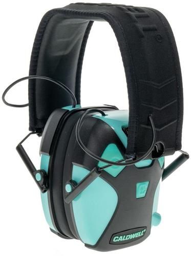 Caldwell Shooting Supplies Hearing & Eye Protection - E-Max Pro Electronic Earmuffs, 23dB NRR, Auto Shutoff, Illuminated On/Off Button, Stereo Audio Input, Dual Microphone Directions, x3 AAA Batteries (Included), Aqua Green Color?>