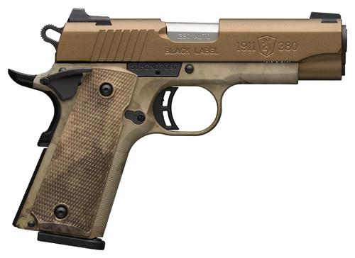 "Browning 1911-380 Speed Single Action Semi-Auto Pistol - 380 ACP, 4-1/4"", Cerakote Burnt Bronze Stainless Slide, Composite Frame w/ A-TACS AU Camo, A-TACS AU Camo Grips, 8rds, Combat White Dot Front & Rear Sights?>"