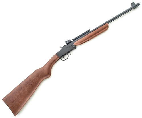 "Chiappa Little Badger Single Shot Rimfire Rifle - 22 LR, 16-1/2"", Matte Black, Deluxe Wood Stock Stock, Fixed Front & M1 Type Adjustable Rear Sights?>"