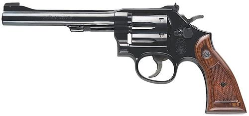 "Smith & Wesson (S&W) Classic Model 17-9 Masterpiece DA/SA Revolver - 22 LR, 6"", Blue Carbon Steel, Medium Frame (K), Wood Grip, 6rds, Pinned Patridge Front & Micro Adjustable Rear Sights?>"