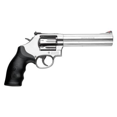 "Smith & Wesson (S&W) Model 686-6 Plus DA/SA Revolver - 357 Mag, 6"", Satin Stainless Steel Frame & Cylinder, Medium Frame (L), Synthetic Grip, 7rds, Red Ramp Front & Adjustable White Outline Rear Sights?>"