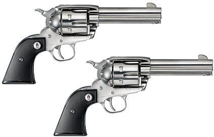 "Ruger Vaquero SASS Single Action Revolvers - 357 Mag, 4-5/8"", 1:16"" RH, High-Gloss Stainless, Stainless Steel, Black Checkered Grips w/ SASS Logo, 6rds, Fixed Sights, Sequential Pair?>"