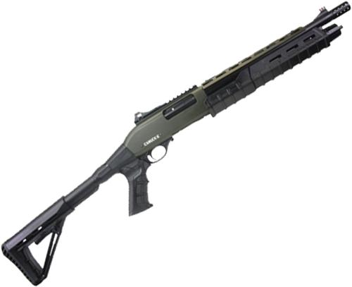 "Canuck Commander Pump Action Shotgun - 12ga, 3"", 14"", Green Receiver, Black Synthetic Adjustable Pistol Grip Stock, Fiber Optic Front Sight, Optic Rail, Heat Sheild, Mobil Choke Flush (C,M,F) + Breacher Choke?>"