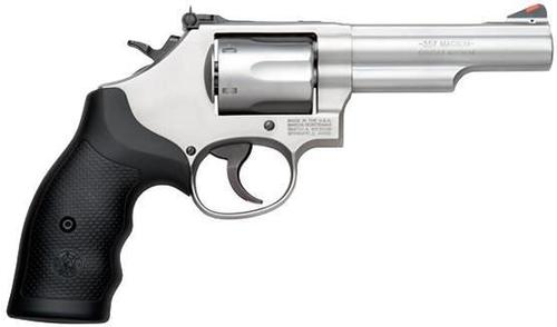 "Smith & Wesson (S&W) Model 66-8 DA/SA Revolver - 357 Mag, 4.25"", Glass Bead Stainless Steel Frame & Cylinder, Medium Frame (K), Synthetic Grip, 6rds, Red Ramp Front & Adjustable White Outline Rear Sights?>"