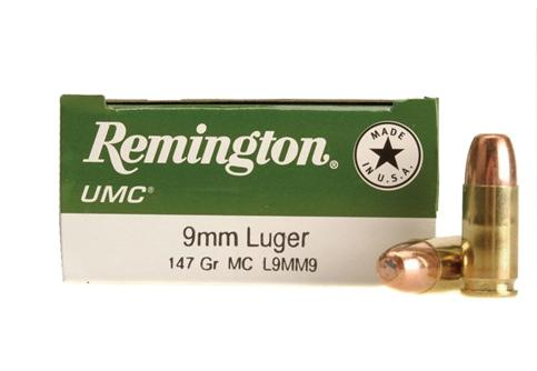 Remington UMC Pistol & Revolver Handgun Ammo - 9mm Luger, 147Gr, MC, 50rds Box?>