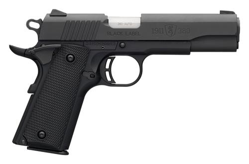 "Browning 1911-380 Black Label Single Action Semi-Auto Pistol - 380 ACP, 4-1/4"", Matte Black Steel Slide, Matte Black Composite Frame, 2x8rds, Combat White Dot Front & Rear Sights, Extended Ambi Safety, Skeletonized Hamme, w/ Pistol Rug?>"