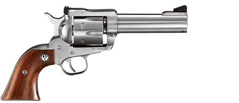"Ruger New Model Blackhawk Stainless Single Action Revolver - 357 Mag, 4.62"", Satin Stainless Steel, Hardwood Grips, 6rds, Ramp Front & Adjustable Rear Sights?>"