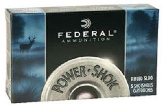 "Federal Power-Shok Rifled Slug Load Shotgun Ammo - 12Ga, 3"", Mag, 1-1/4oz, Rifled Slug HP, 5rds Box, 1600fps?>"