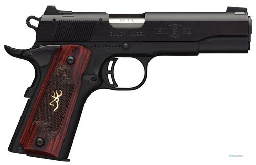 "Browning 1911-22 Black Label Medallion Rimfire Single Action Semi-Auto Pistol - 22 LR, 4-1/4"", Matte Black Aluminium Alloy Slide, Matte Black Alloy Frame, Checkered Rosewood Grips w/ Gold Buckmark Inlay, 10rds, Fixed Black A1 Front & Rear Sights?>"