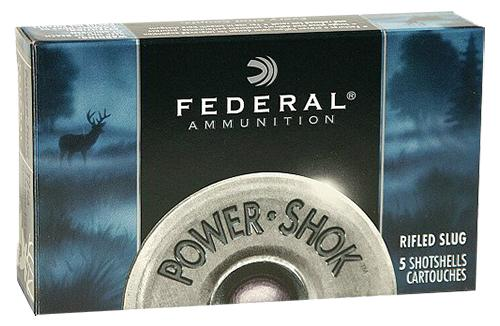 "Federal Power-Shok Shotgun Ammo - 12Ga, 2-3/4"", Max DE, 1oz, Rifled Slug HP, 5rds Box?>"