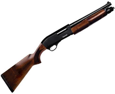 "Akkar Churchill Wood Pump Action Shotgun - 12Ga, 3"", 12"", Matte Black, Walnut Stock, 4rds, Rifle Front Sight, Fixed Cylinder?>"