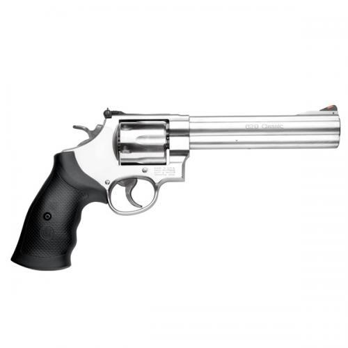 "Smith & Wesson (S&W) Model 629 Classic DA/SA Revolver - 44 Rem Mag, 6.5"", Satin Stainless Steel Frame & Cylinder, Large Frame (N), Rubber Grip, 6rds, Red Ramp Front & Adjustable Rear Sights?>"