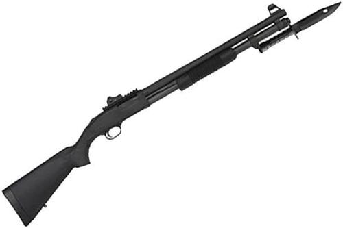 "Mossberg 590A1 Tactical 9-Shot SPX Pump Action Shotgun - 12Ga, 3"", 20"", Heavy-Walled, Parkerized, Black Synthetic Stock, 8rds, M16-Style Front & Ghost Ring Rear Sights, Fixed Cylinder, Picatinny Rail, Metal Trigger Guard & Safety Button, w/M9 Bayonet?>"