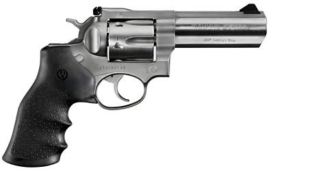 "Ruger GP100 DA/SA Revolver - 357 Mag, 4.2"", Satin Stainless, Stainless Steel, Hogue Monogrip Grips, 6rds, Ramp Front & Adjustable Rear Sights?>"